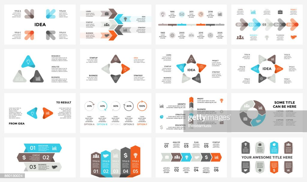 Vector circle arrows infographic, cycle diagram, graph, presentation chart. Business concept with 3, 4, 5, 6, 7, 8 options, parts, steps, processes. 16x9 slide template