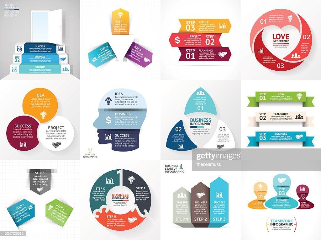 Vector circle arrows infographic set. Business diagram, graphs, startup logo