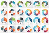 Vector circle arrows infographics bundle. Template for cycle diagram, graph