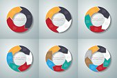 Vector circle arrows infographics set. Template for diagram, gra