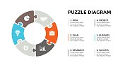 Vector circle arrows puzzle infographic, cycle diagram, graph, presentation chart. Business concept with 6 options, parts, steps, processes. 16x9 slide template