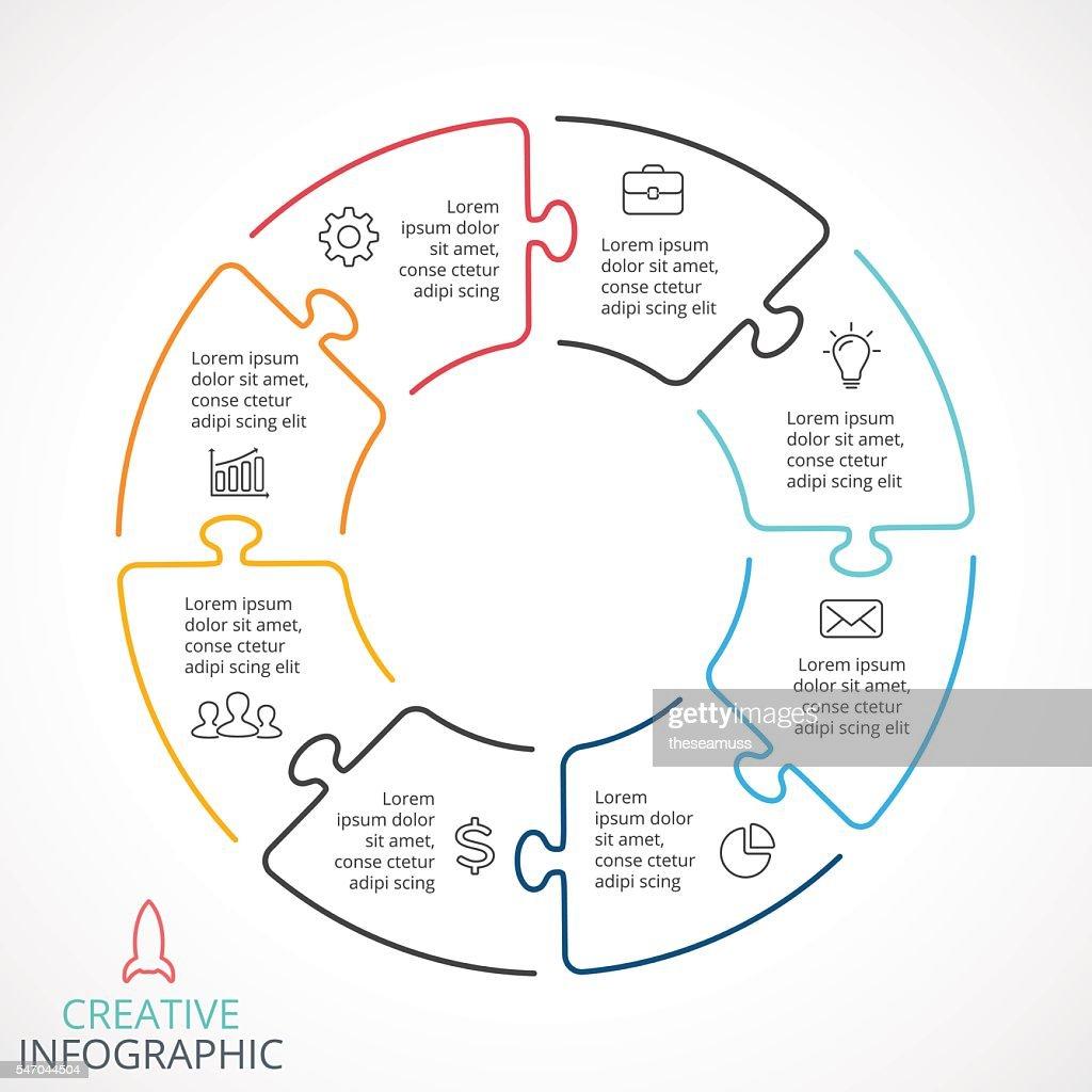 Vector circle arrows puzzle infographic, cycle diagram, linear graph, presentation