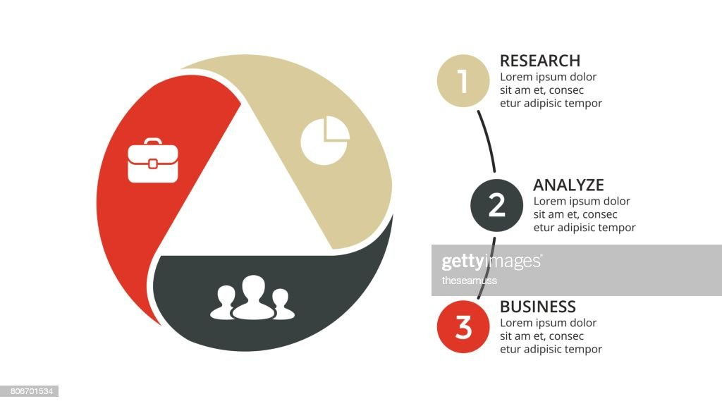 Vector circle arrows triangle infographic, cycle diagram, graph, presentation chart. Business concept with 3 options, parts, steps, processes. Slide template