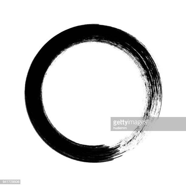 illustrations, cliparts, dessins animés et icônes de coup de pinceau de cercle vecteur isolé sur fond blanc - peindre