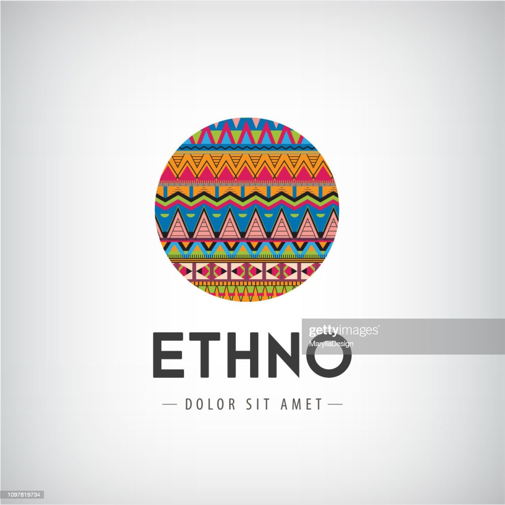 Vector circle ethno, tribal, hipster decorated colorful icon, sign isolated.