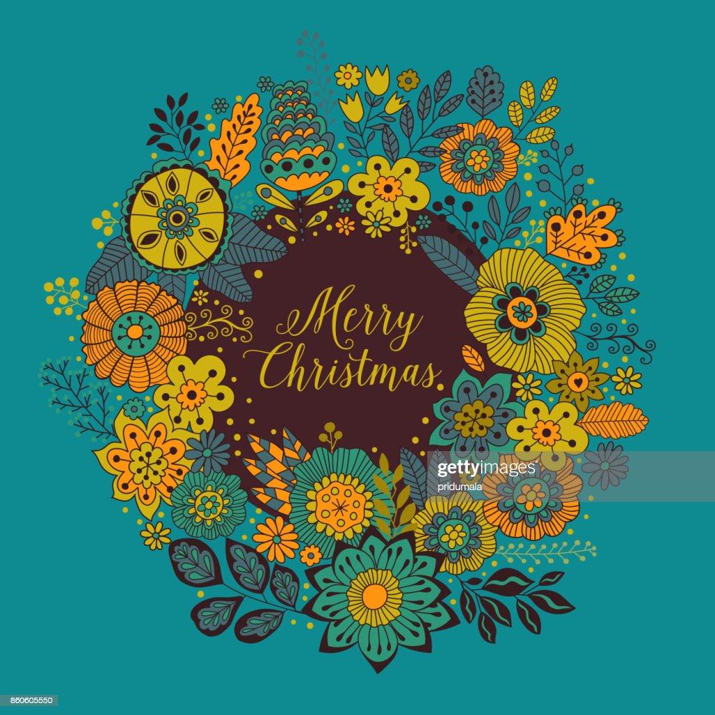 Vektorkreisrahmen Frohe Weihnachten Kranz Von Blumen Gemacht ...