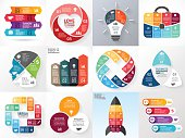 Vector circle infographic set. Business diagrams, arrows graphs, startup logo