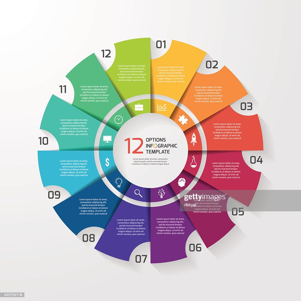 Vector circle infographic template for graphs, charts, diagrams.