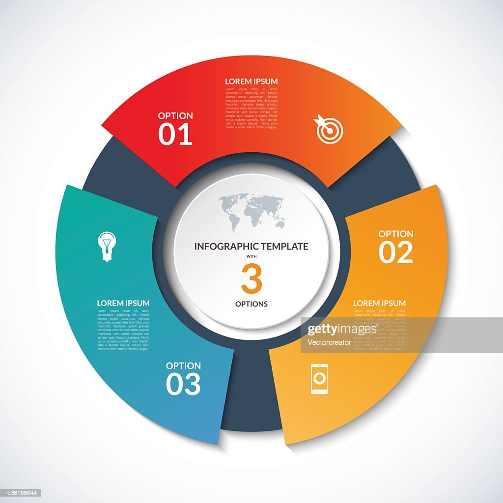 Vector circle template for infographics. Business concept with 3 options