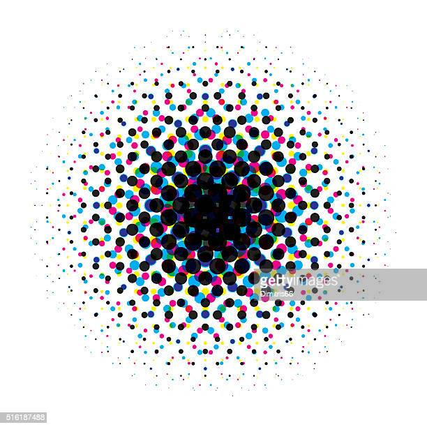 vector circular halftone gradient with cmyk dots - printout stock illustrations