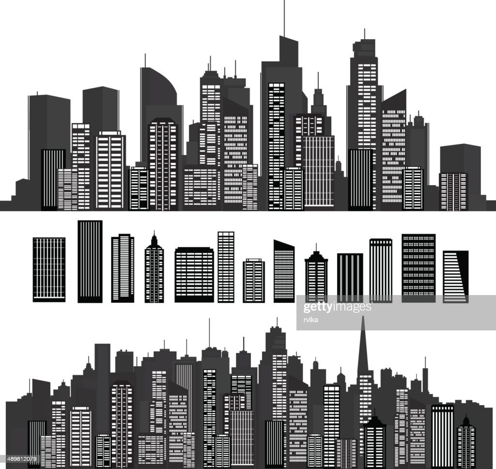 Vector cities silhouettes and elements for design.