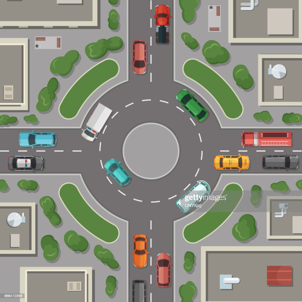 Vector city buildings, roads and cars top view illustration
