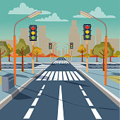 Vector city crossroad with traffic lights