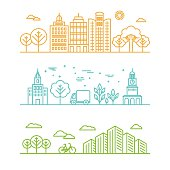 Vector city illustration in a linear style