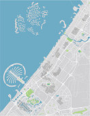 Vector city map of Dubai with well organized separated layers.
