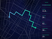 Vector city map with route and data interface for gps navigation and tracker app