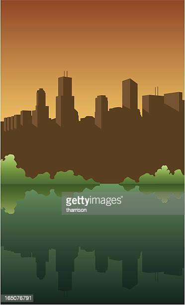 vector city skyline - generic description stock illustrations, clip art, cartoons, & icons