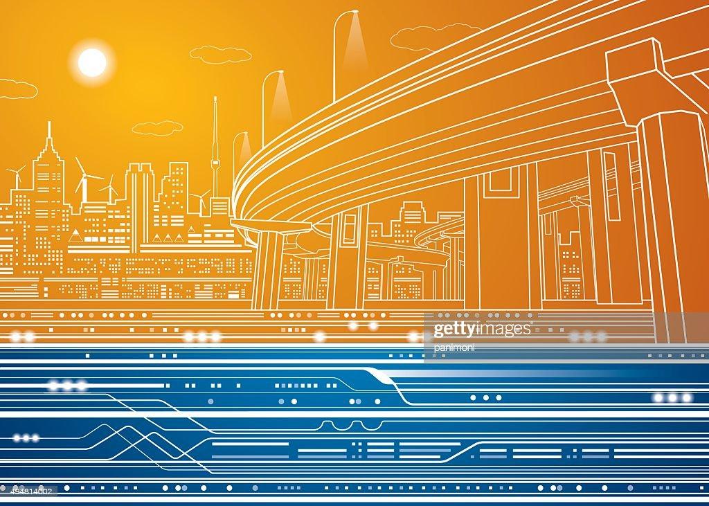 Vector city, vector lines overpass, bridge