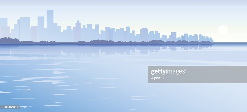 Vector city water background blue