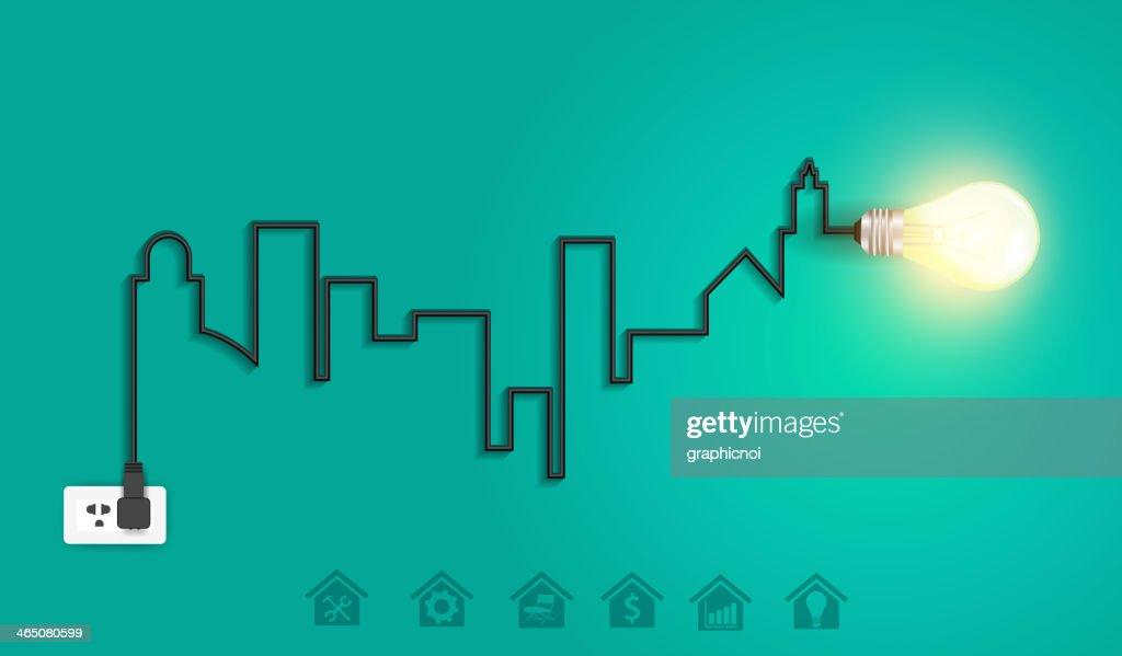 Vector Cityscape With Creative Wire Light Bulb Idea Concept Vector ...