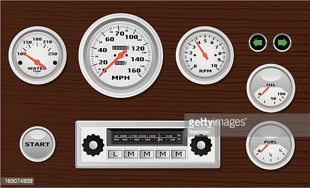 vector classic dashboard - oil warning light stock illustrations, clip art, cartoons, & icons
