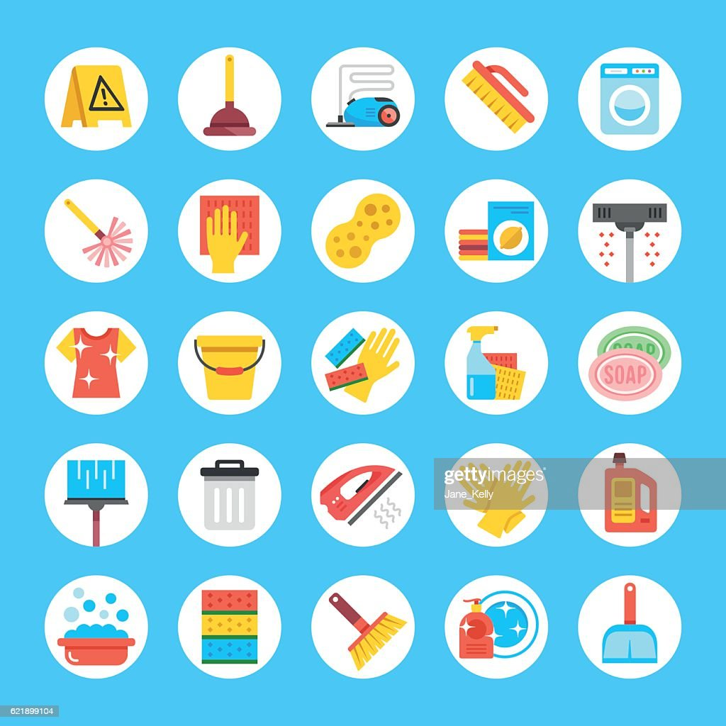 Vector cleaning icons set. Flat round icons. Household supplies, equipment