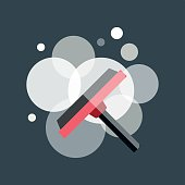 Vector cleaning window brush icon work equipment illustration.
