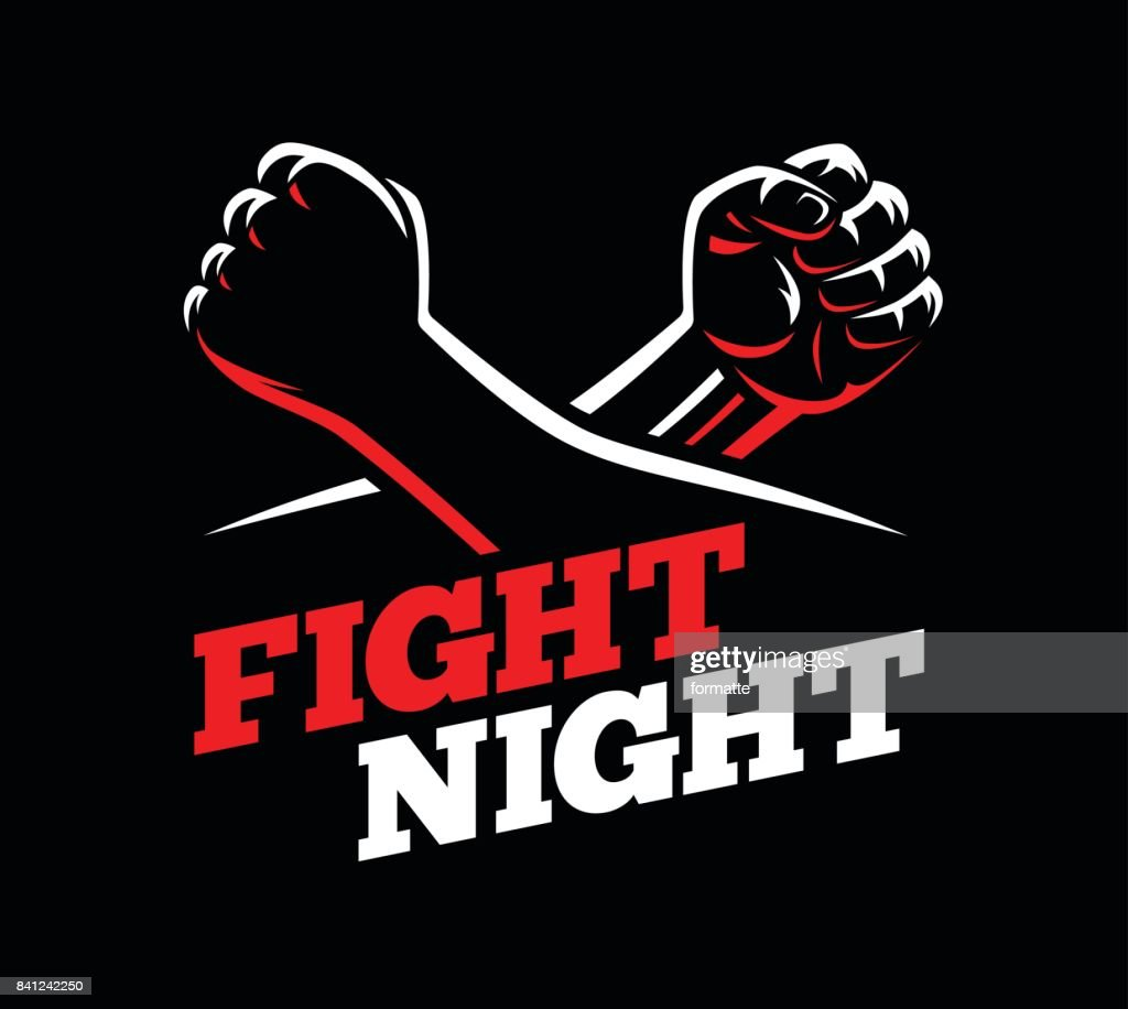 Vector clenched fists fight MMA, kick boxing, karate sport night cage show illustration on dark background.