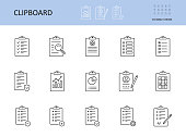 Vector clipboard icon. Editable stroke. To-do list, check sheet and pencil pen. Icons registration form, test questionnaire survey. Checklist with gears magnifier graph chart, data protection privacy