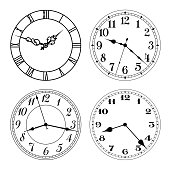 Vector clock faces in black and white.
