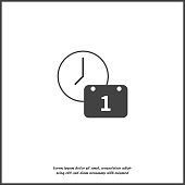 Vector clock icon and calendar. Time Management Icon on white isolated.