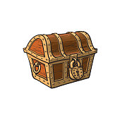 vector closed locked wooden treasure chest