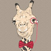 vector closeup portrait of funny Giraffe hipster