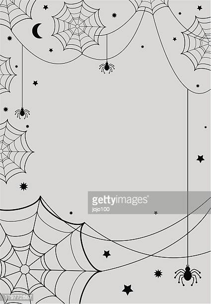 vector cobwebs & spiders on grey background - spider stock illustrations