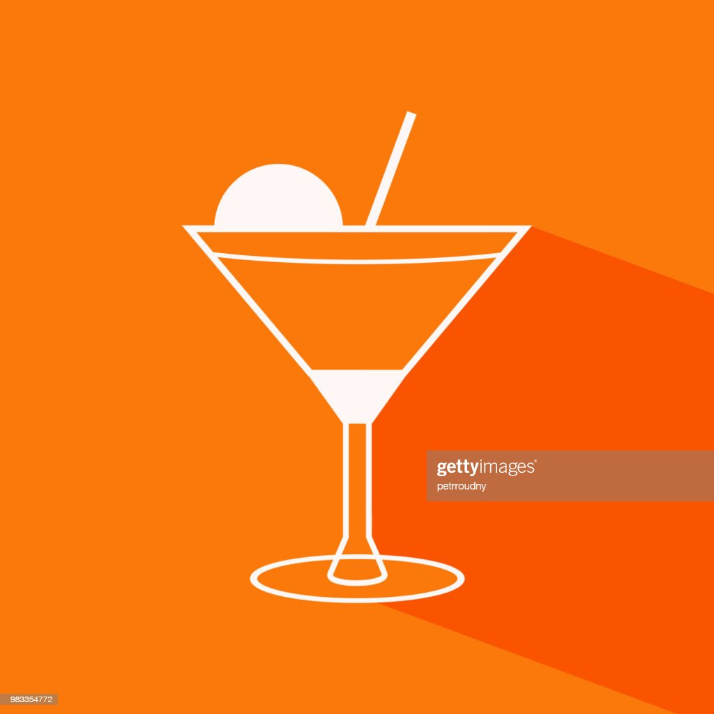 Vector cocktail icon on the orange background