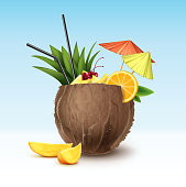 Vector Coconut cocktail