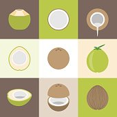 Vector coconut icons set