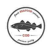 Vector cod silhouette. Cod label.