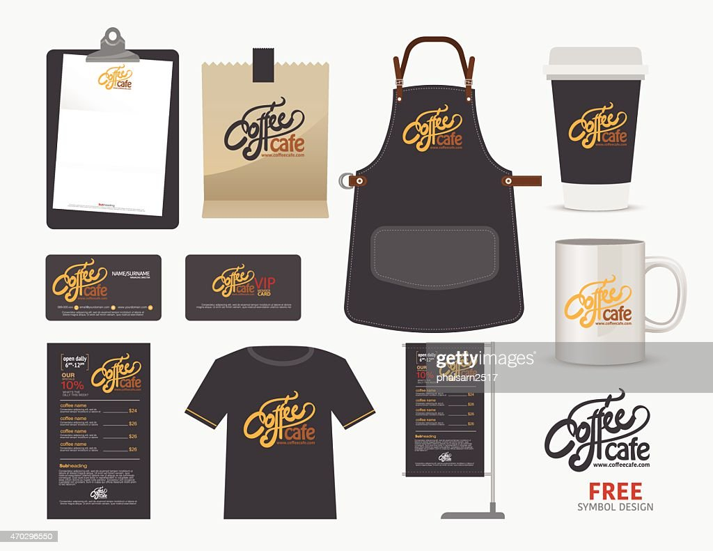 Vector coffee cafe restaurant set, T-Shirt