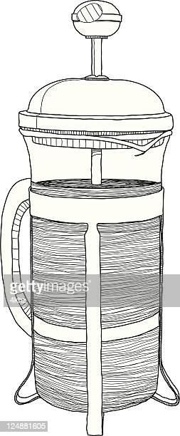 Vector Coffee French Press Drawing