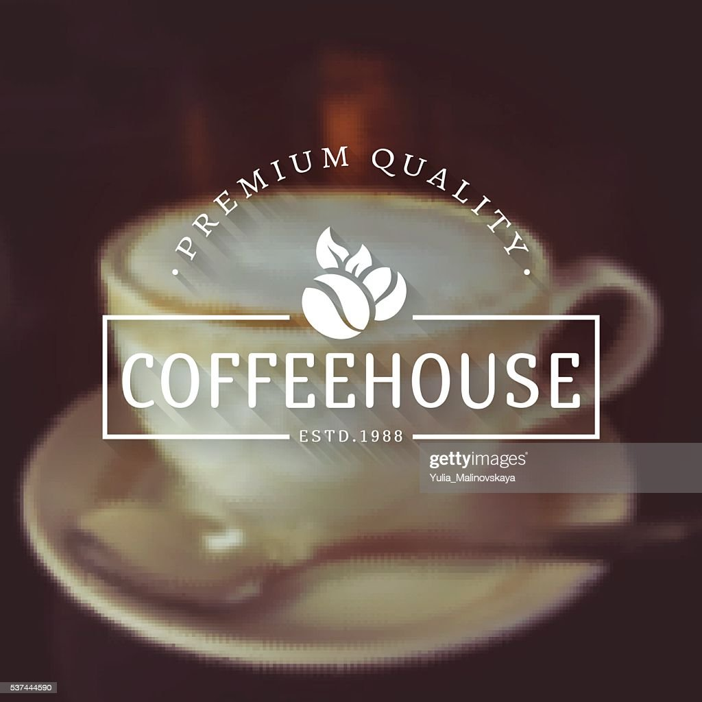 Vector coffee house logos on blurred background.