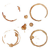 Vector Coffee Stain Rings Set Isolated On White Background