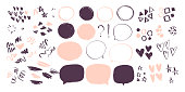 Vector collection of abstract hand drawn doodle elements in sketch style on white background - heart, star, line waves,  lipstick stroke, geometric shapes, speech bubbles.