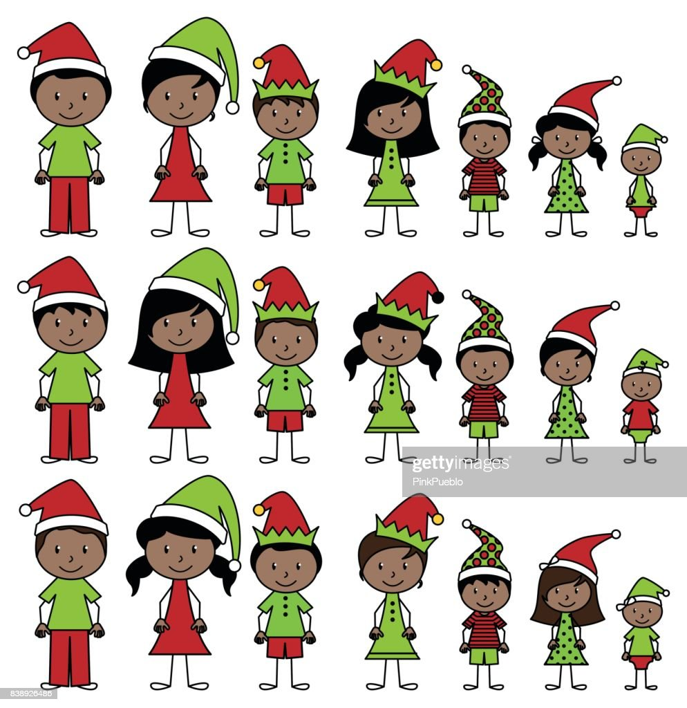 Vector Collection of African American Christmas or Holiday Style Stick Figures