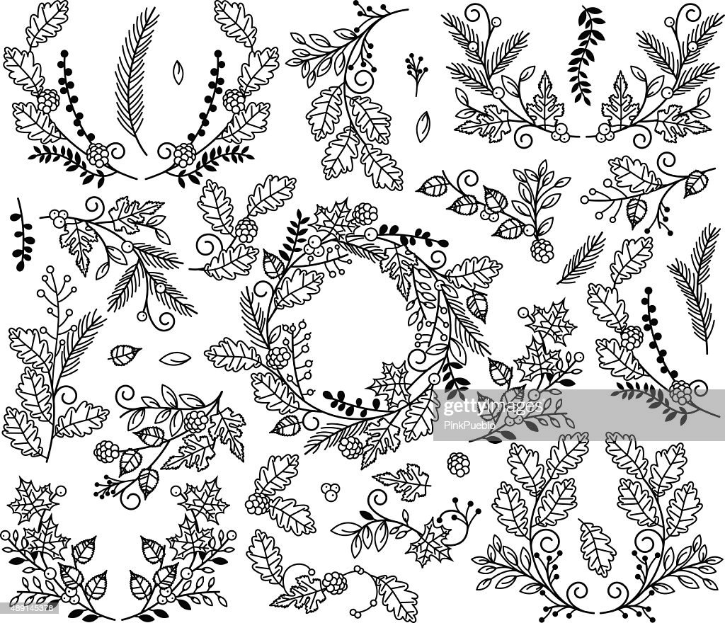 Vector Collection of Autumn and Thanksgiving Themed Floral Elements