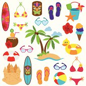 Vector Collection of Beach and Vacation Themed Objects