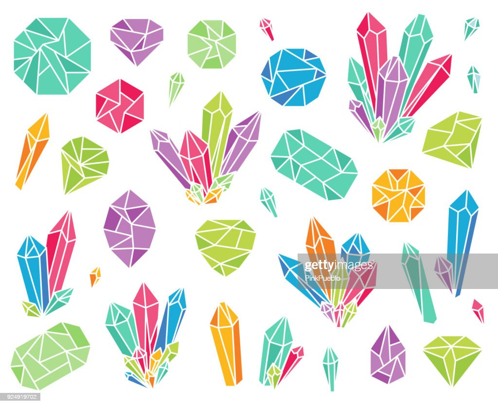 Vector Collection of Beautiful Crystals and Gemstones