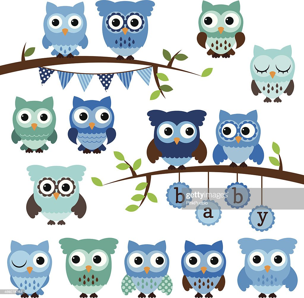 Vector Collection of Boy Baby Shower Themed Owls and Branches