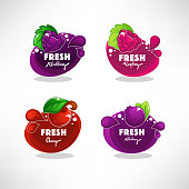 vector collection of bright bubbles frame  sticker, label, emblem and banners for berry  fresh juice