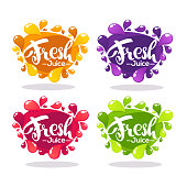 vector collection of bright bubbles frames  stickers, emblems and banners for fruit and berry fresh juice